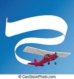 Flugzeug, das weiße Banner zieht.