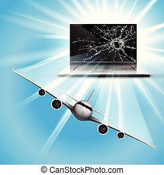 Flugzeug fliegt aus dem Bildschirm.