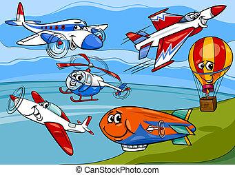 flugzeug, gruppe, karikatur, abbildung, ebenen