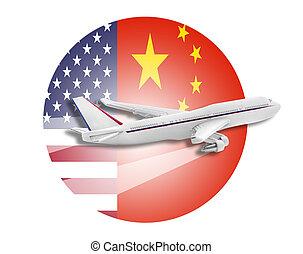 Flugzeug, vereinigte Staaten und chinesische Flaggen.