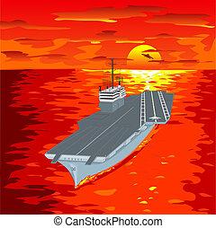 Flugzeugträger schwebt auf Wellen und fliegt hoch
