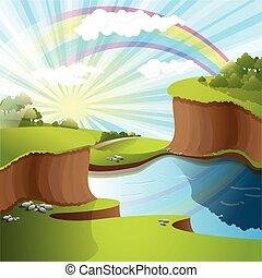 Fluss und Regenbogen