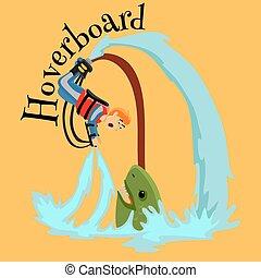 Fly board Wasser Extremsport, isoliertes Design Element für Sommerferien-Aktivitätskonzept, Cartoon Wave Surfing, See Beach Vektor Illustration, aktive Lifestyle Abenteuer.