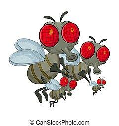 Fly Family Cartoon Charakter Vektor Design isoliert auf weißem Hintergrund.