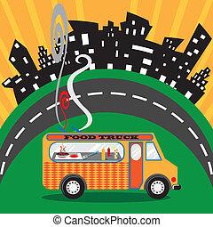 Food Truck in der Stadt
