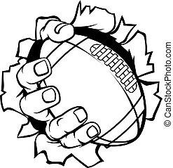Football-Ball-Hand, die den Hintergrund zerreißt