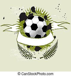 Football-Banner mit den Grunge-Bällen im Hintergrund