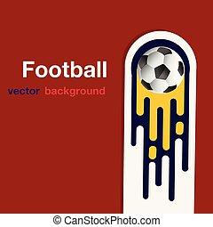 Football fliegender Fußballball roter Hintergrund Vektorbild.