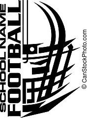 Football Team Design mit Helm und Facemaske für die Schule.