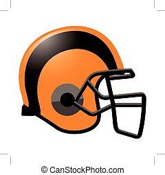 Footballhelm in orangefarben.
