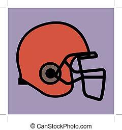 Footballhelm in roter Farbe.