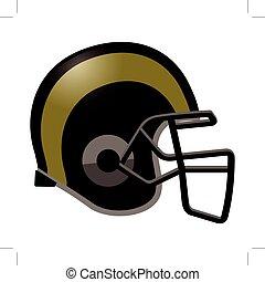Footballhelm in schwarz und goldfarben.