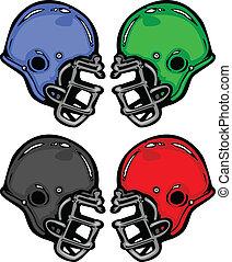 Footballhelme zeichnen Cartoon Vektor Illustration