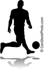 footballspieler, fußball, silhouette
