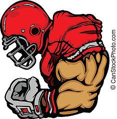 Footballspieler mit Helm-Cartoon