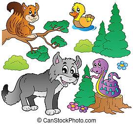 Forest Cartoon-Tiere zwei