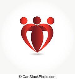 form, herz, logo, bild, familie, vektor