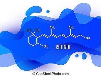 formel, oder, retinol, chemische , formen, strukturell, vitamin, weißes, flüssigkeit, hintergrund, flüssiglkeit