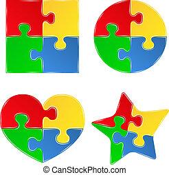 formen, puzzel, stichsaege, vektor, stücke