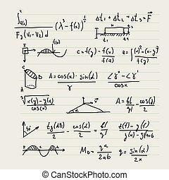 formulas., hintergrund, vektor