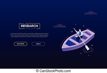 Forschungskonzept - modernes isometrisches Vektor-Web-Banner