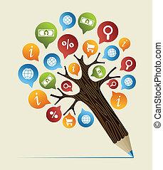 Forschungsstudien, Konzept von Bleistiftbaum