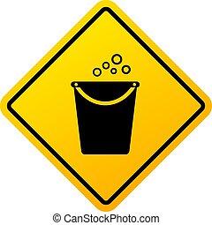 fortschritt, warnung, putzen, zeichen