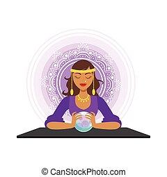 Fortune teller prognostiziert mit dem Ball, okkulten Ritual Vektor Illustration.