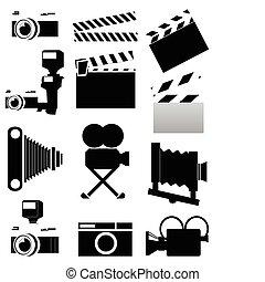 foto, colour., abbildung, silhouetten, vektor, video, kammern, schwarz
