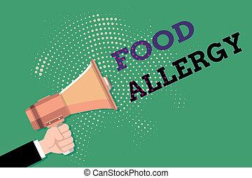 foto, hu, antwort, nach, besitz, zeichen, mann, allergen, gegessen, abnorm, allergy., halftone, packend, text, begrifflich, megaphon, pattern., hand, immun, lebensmittel, system, ausstellung, analyse, punktiert