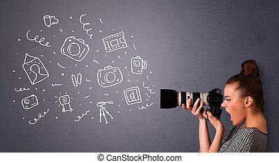 Fotografin, die auf Fotos von Ikonen schießt