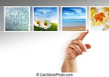 Fotos berühren den Bildschirm