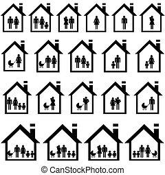 Fotos von Familien in Häusern.