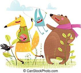 Fox-Bär-Häschen-Krähe spielen auf dem Spielplatz.
