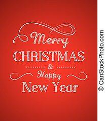 fröhlich, hintergrund, retro, gruß, weihnachten, schablone, rote karte