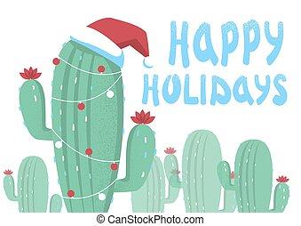 fröhlich, karte, weihnachten, hintergrund, kaktusse, text., feiertag