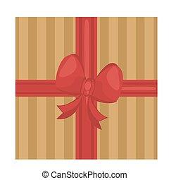 fröhlich, rotes , geschenk, weihnachten, goldenes, schleife, glücklich, geschenkband