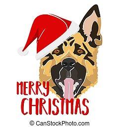 fröhlich, schafhirte, weihnachten, hund, abbildung