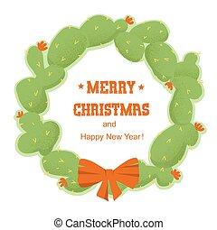 fröhlich, vektor, freigestellt, weihnachten, kaktusse, text., weißes, feiertag wreath