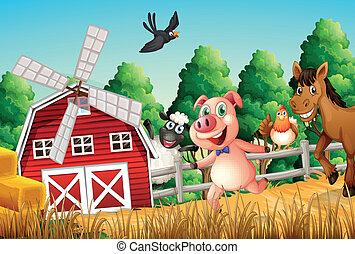 Fröhliche Bauerntiere.