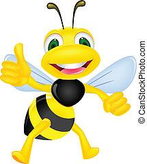 Fröhliche Biene mit Daumen hoch