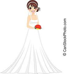 Fröhliche Brautfrau.
