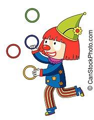 Fröhliche Clown-Ringe.