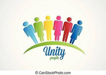 Fröhliche Einheit Leute Logo-Vektor.
