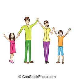 Fröhliche Familie hat vier Menschen erwaffnet.