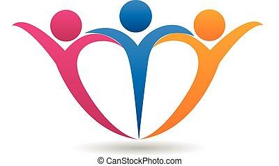 Fröhliche Familie in Herzform Logo.