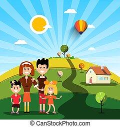 Fröhliche Familie mit Haus am sonnigen Tag auf dem Feld.
