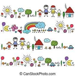 Fröhliche Familie und süße Naturelemente.