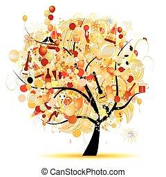 Fröhliche Feier, lustiger Baum mit Feiertagssymbolen