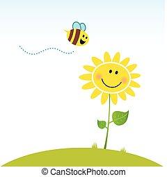 Fröhliche Frühlingsblume mit Bienen